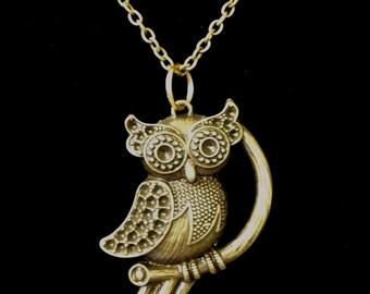 Antique Bronze Owl Necklace