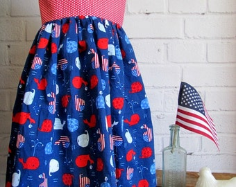 July Fourth Dress, Patriotic Sun Dress, Red White Blue Dress, Navy Whales Dress, Patriotic Outfit, Sundress, Summer Sun Dress, Red Blue