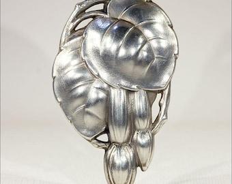Silver Fuchsia Flower Pendant, Vintage German Art Nouveau