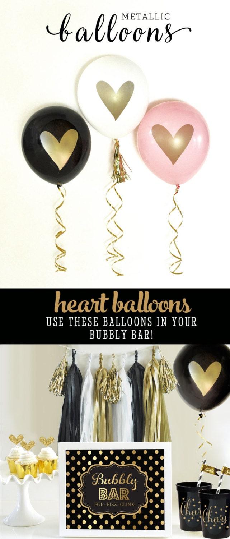 Wedding balloons heart balloons bridal shower balloons love for Wedding shower balloons