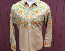 Embroidered Nudie's Western Shirt Custom Made for Jack  Lord Medium