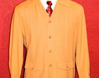 Late 40s / Early 50s Mustard Yellow Gabardine Palmland Cubano or Hollywood Jacket ML