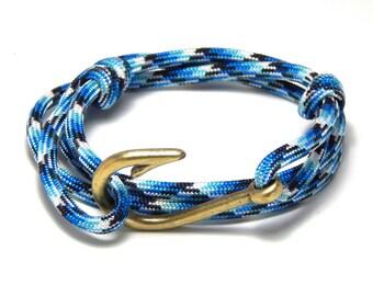 Fish hook bracelet Adjustable blue brass tone fish hook