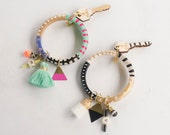 Handpainted Wooden Bangle & Charm Keychain