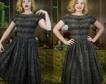 50s New Look Dress | 50s Novelty Dress | 50s Full Skirt | 1950s Dress | 50s Brown Dress | 50s Dress | 50s Longline Dress | 50s Sundress | 26