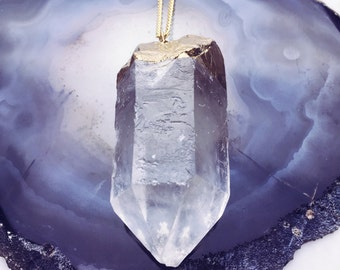 Large Gold Leafed Quartz Crystal Hanging From A Gold-plated Necklace