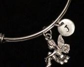 Fairy Stainless Steel Bracelet, Garden Fairy Bracelet, Flower Fairy Adjustable Bracelet, Fairy Charm Bracelet, Initial Bracelet, qb118
