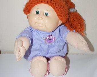 Cabbage Patch Kid Vintage Doll Red Hair Green Eyes with Teeth