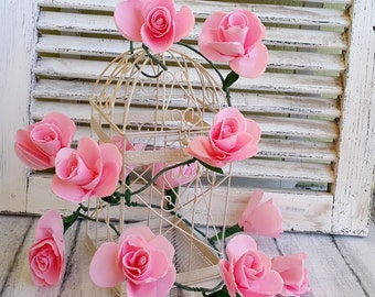 Wedding garland, Paper flowers garland, Pink roses garland, Wedding decoration, Party Decoration, Baby shower,Paper flowers, Arch decoration