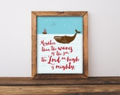 Mightier than the waves of the sea. Instant download printable. 8 x 10 print. Wall art. Kid's home decor. Beach house. Nautical. Psalm 93:4