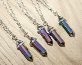 Mystic Rainbow Quartz Healing Crystal Necklace - Vintage Silver Boho - Shiny Galaxy Natural Titanium Jewellery- Gift- Bohemian Stone Jewelry