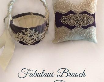 Elegant Flower Girls Basket and Ring Bearers Pillow Matching Set, Choose Your Wedding Color