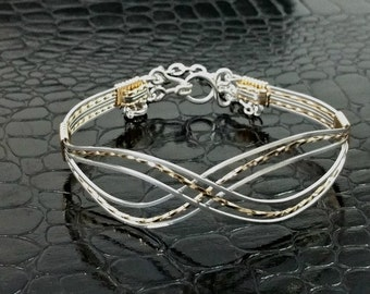 Infinity Wire Wrapped Bracelet, Submissive Bracelet Permanently Locking or Traditional, BDSM Symbolic Made To Order 8879