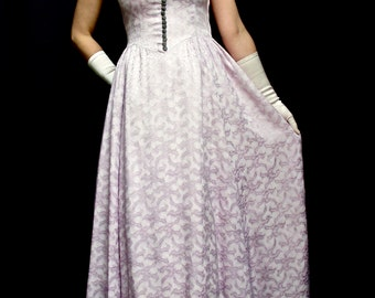 Charming True Vintage Original 1940's 40's  Lilac Long Evening Dress Prom Gown Size 10