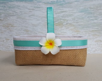 Tropical Beach Flower Girl Basket -Choice of Ribbon Color- Plumeria Burlap Hawaiian Hawaii Flowergirl