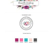 Premade Marketing Kit - Photography Logo - Watermark -Premade Watercolor Floral Frame logo   (MK07)