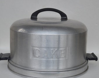 Vintage Kromex Spun Aluminum Round Cake Carrier Cake Tin in Silver Tone