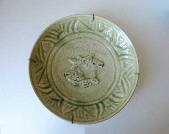 Celadon Plate Dish with raised Twin Fish 20,5cm / 8.1 inch diameter