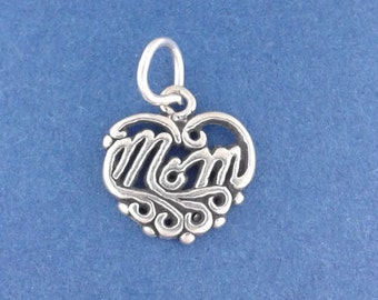 MOM HEART Charm .925 Sterling Silver, Mother, Small Pendant - lp2964