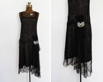 1920s / 1930s Black Lace and Silk Deco Dress with Rhinestone Butterfly