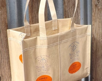 SALE Desert Sun Coffee Bag Tote Purse Recycled Upcycled Repurposed