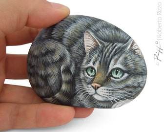 Irresistible Tiger Cat Miniature Handpainted on A Sea Pebble | Cat Painting on a Stone | Unique Rock Art by Roberto Rizzo