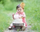 1st First Birthday Gold Crown Headband - Chloe - Gold Crown - Baby - Toddler - Adult - Tiara - Princess - Dress Up - Photo Props
