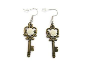 Key Earrings   Rose Earrings , Steampunk Earrings  Rose Jewelry Key Jewelry Bridal Party  Bridal Jewelry Bridesmaids Gift Heart Key Earrings
