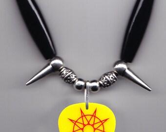 Slipknot Alessandro Venturella Yellow Guitar Pick Necklace - 2015 Tour