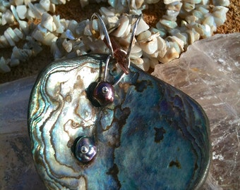 Abalone, Fresh Water Pearl, Pink Tourmaline & Sterling Silver pendant on Opal gem-art necklace
