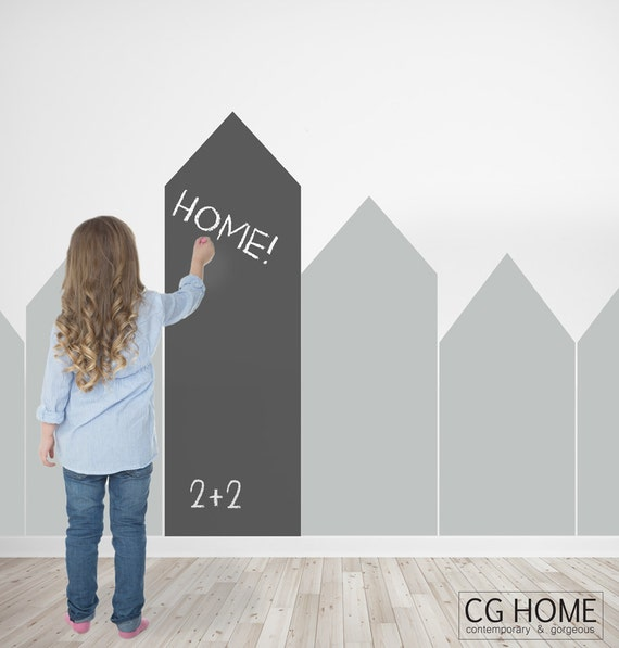 Chalkboard Wall Decal Self Adhesive Removable Wall Sticker Houses Vinyl Pattern Blackboard Nursery Decor Kids Room Decoration Customized