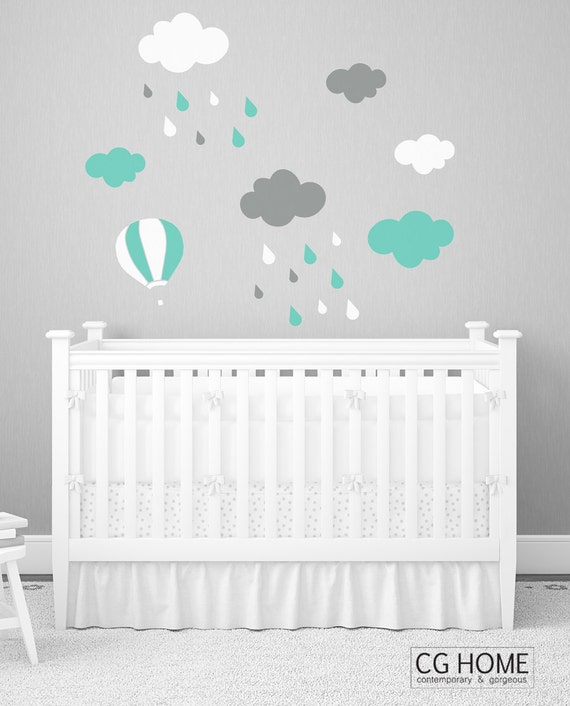 cloud decals Nursery stickers CLOUDS pattern mint cloud Decoration for kids wall decal CGhome