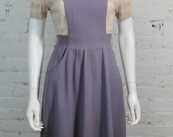 1960s Diana Leslie Jumper Dress Carnaby Street London Wool Crepe  Lavender purple UK 10 S