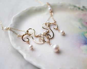 Freshwater Pearl Wire Wrapped Statement Necklace, Gold Filled Bridal Jewelry, Art Nouveau Style