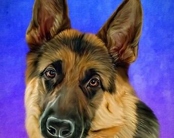 German Shepard Custom Pet Portrait from a photo, German Shepard Art, Dog Art, Dog Print, Dog Memorial Portrait, Pet Memorial Portrait