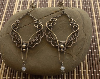 Victorian Style Silver Chandelier Earrings, Swarovsky Crystal Dangle Earrings,  Antiqued Silver Earrings