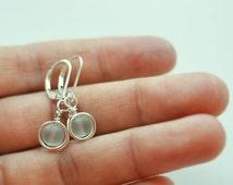 Sea foam sea glass earrings lever back earrings leverback sterling silver earrings sea glass jewelry dangle earrings wire wrapped earrings