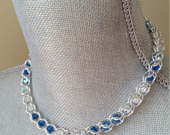 Captive Bead Necklace, Capri Blue AB and White Opal AB, Crystal, Necklaces, Captive Bead, Statement, Prom, Formal, Chainmaille, Bridesmaids