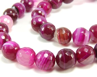 10mm Faceted Agate, 1 strand (38pcs) Agate Gemstone Beads, Agate Loose Beads, Gemstone Faceted Bead, Gemstone Round Beads, Agate Stone Beads