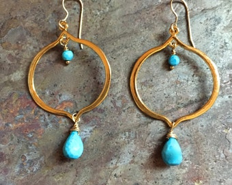 Turquoise gemstone gold hoop statement earrings