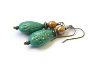 Turquoise and gold etched drop earrings - Acrylic and Czech Glass Earrings - Drop Earrings - Handmade Earrings - Jewelry - For Her