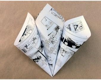 15 Wedding Flower Cones / Comic Book Paper / Rose Petal Cones / Comic Favor Cones / Paper Wedding Cones / Rose Cones / Confetti Toss Cones