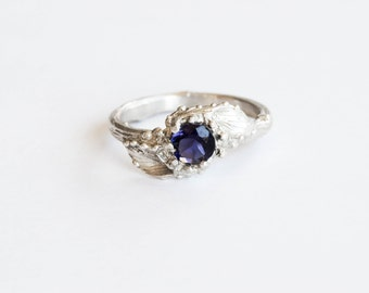 Sterling silver iolite nature engagement ring, twig leaf engagement ring, leaf engagement ring
