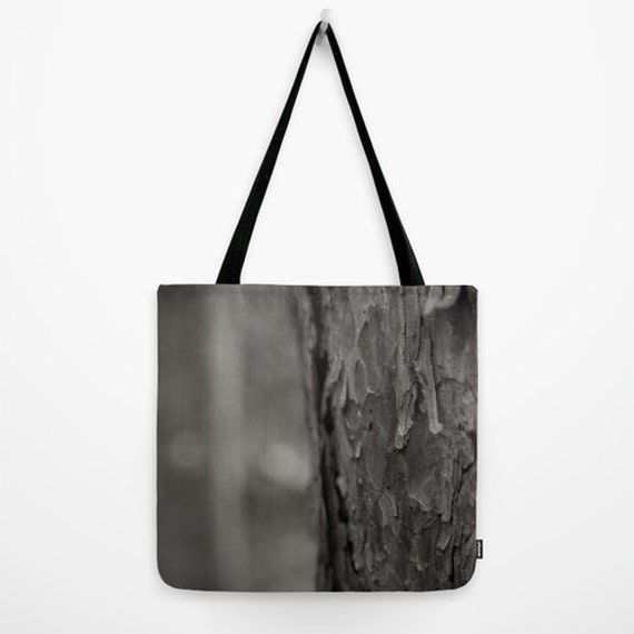 Tote Bag, Black and White, Red Pine Tree, Tree Bark Image, Nature Photography, Close Up Details, Forest Pictures, Woods Photograph, BWCA