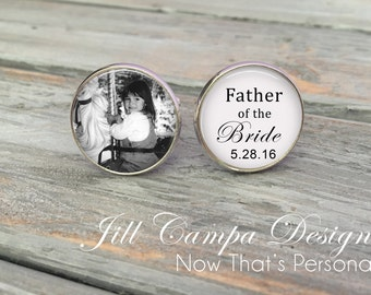 Father of the Bride Cufflinks - Custom Photo Cuff Links - Silver Wedding Cufflinks - Picture Cuff Links - Father of the bride cuff links