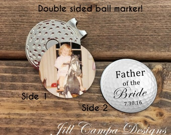 FATHER of the BRIDE gift- photo golf ball marker - father of the bride gift from bride - father of the bride - from bride - golf ball marker