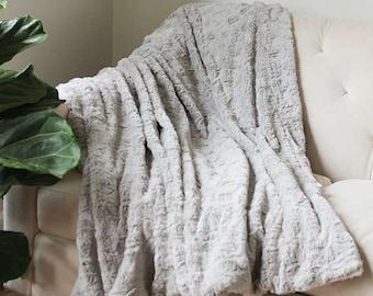 Grey Faux Fur Blanket | Gray Throw | Grey Decorative Sofa Throw | FauxFur Blanket | Bed Throw {Faux Fur Throw}