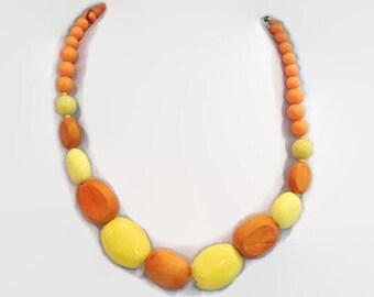 Bright Orange and Yellow Wooden Bead Chunky Summer Necklace for Party and Casual Occasions Free Shipping to USA