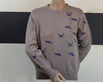 Vintage Sweater Mallard Ducks Country Suburban