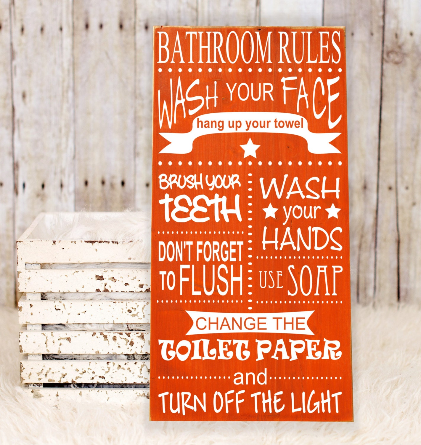 Bathroom rules wall decor subway art vinyl wooden sign for Bathroom decor rules